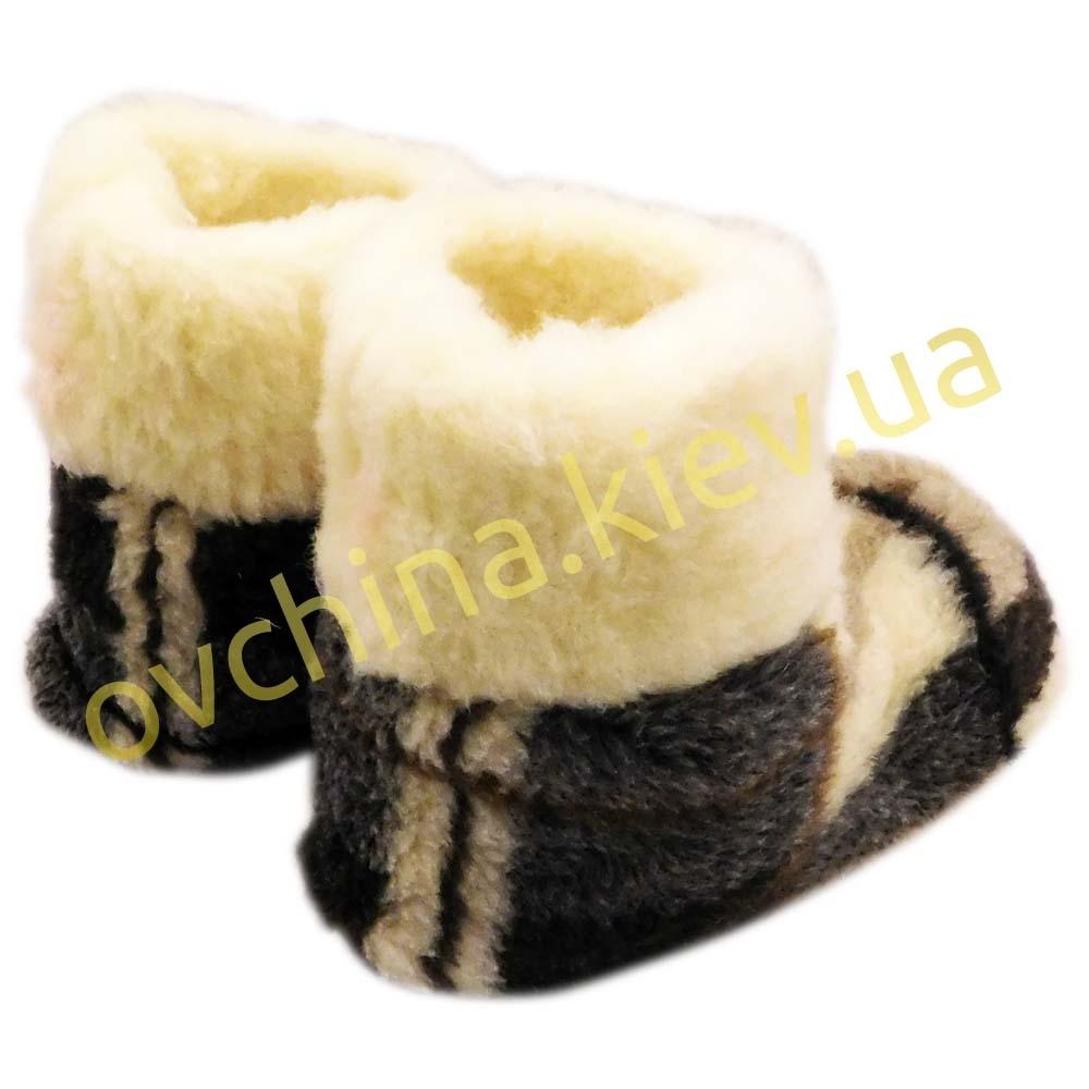 Чуни женские из шерсти мериносовой овчины в крупную клетку - 5