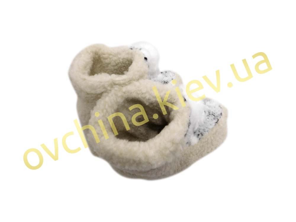 Чуни белые с помпоном (плотная подошва, вариант №2) - 1