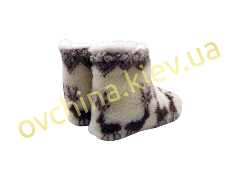 Чуни мужские из шерсти мериносовой овчины с узором «Олени» /вариант 2/ - 4