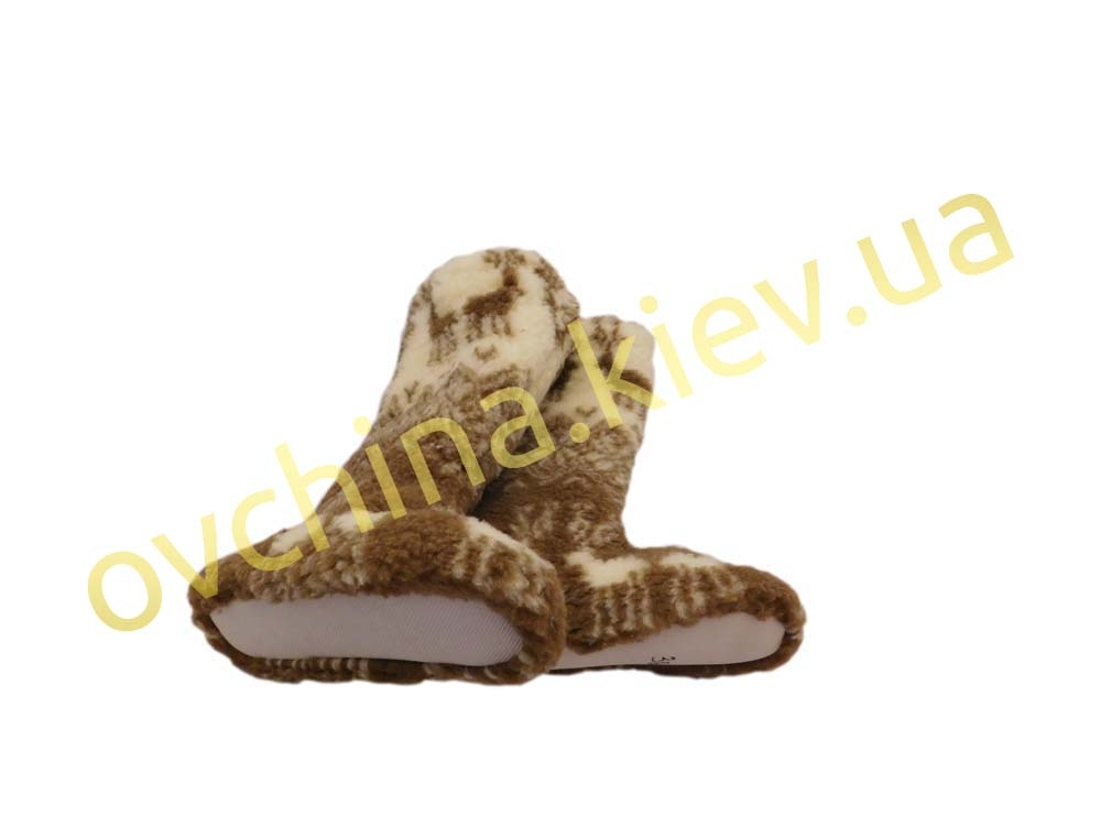 Чуни мужские из шерсти мериносовой овчины высокие до колен с узором - «Олени скандинавские» - 2