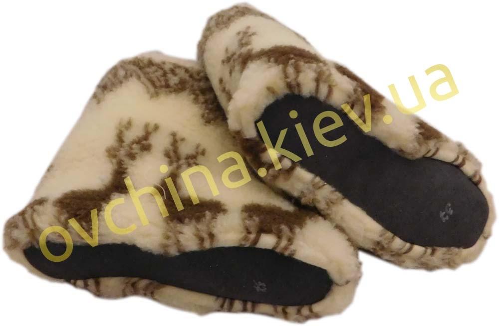 Чуни мужские из шерсти мериносовой овчины с узором «Олени» /вариант 2/ - 2