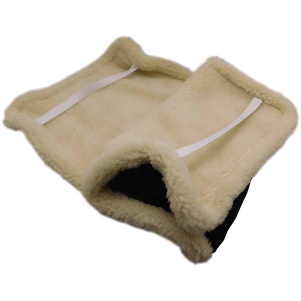 Накидка на сиденье автомобиля из натурального меха овчины (мутона) черная с белой каймой - 3