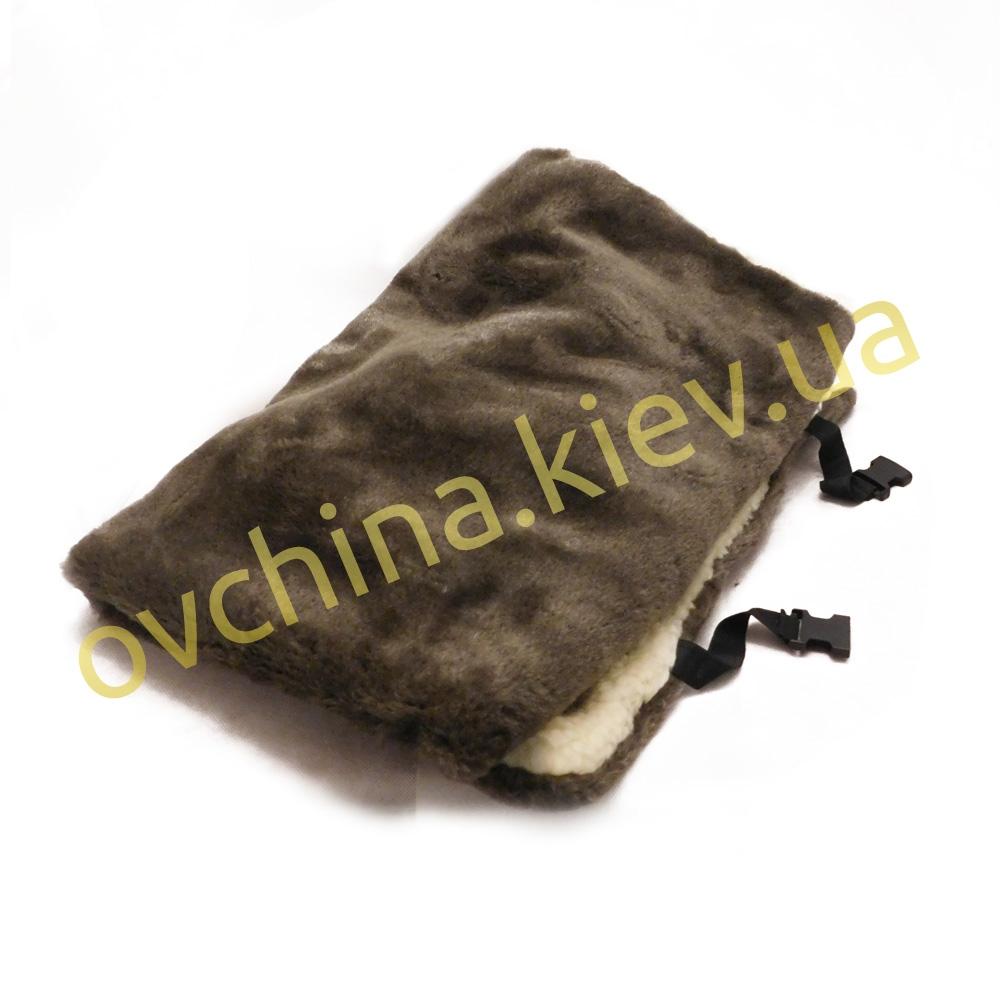 Накидка на сиденье автомобиля из натурального меха овчины (мутона) Коричневая - 1