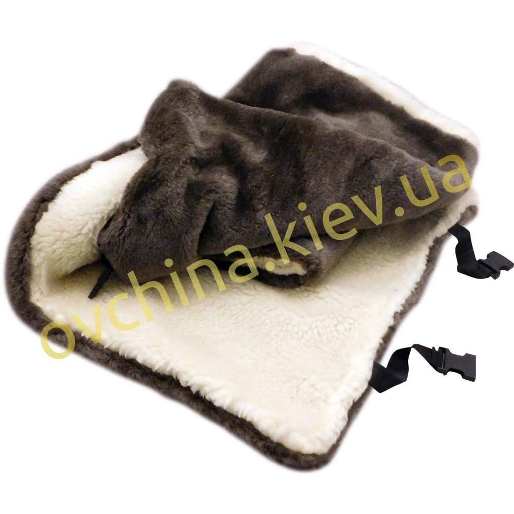 Накидка на сиденье автомобиля из натурального меха овчины (мутона) Коричневая - 2