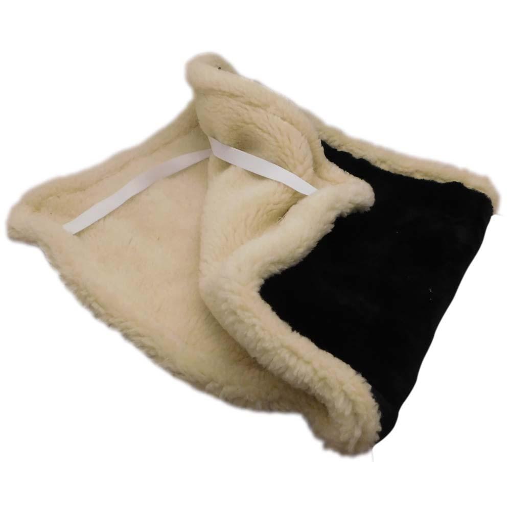 Накидка на сиденье автомобиля из натурального меха овчины (мутона) черная с белой каймой - 1