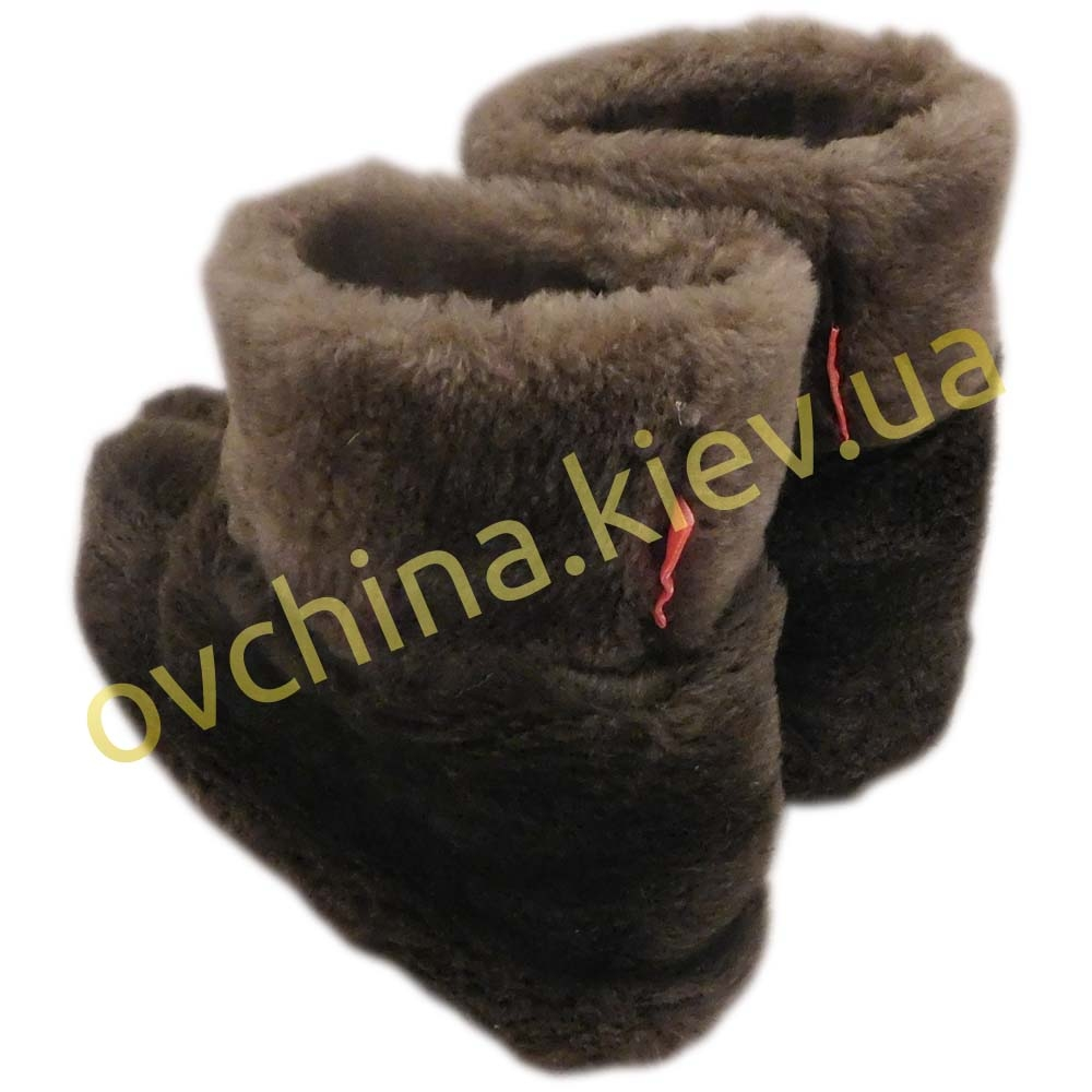 Чуни женские коричневые из шерсти мериносовой овчины /шоколад/ - 1