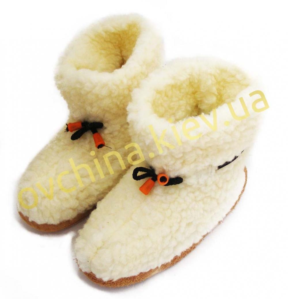 Чуни женские из шерсти мериносовой овчины со шнурками
