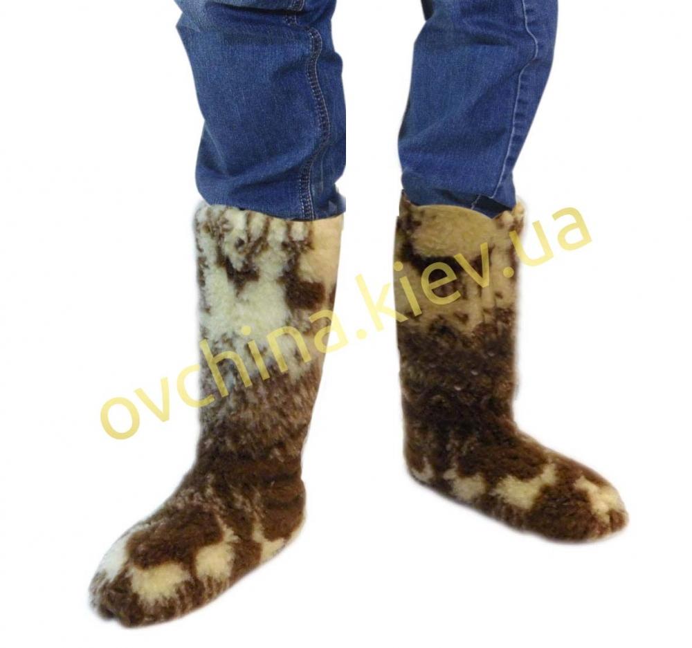 Чуни мужские из шерсти мериносовой овчины высокие до колен с узором - «Олени скандинавские»
