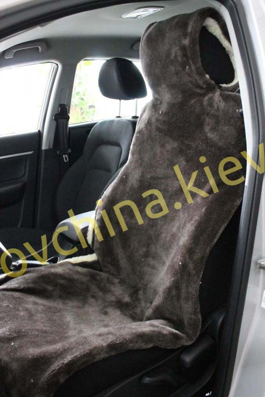 Накидка на сиденье автомобиля из натурального меха овчины (мутона) Коричневая