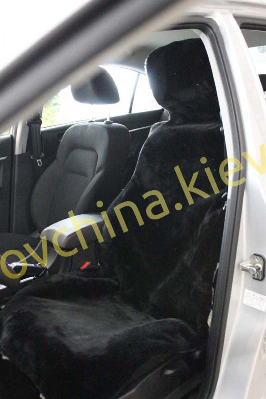 Накидка на сиденье автомобиля из натурального меха овчины (мутона) Черная