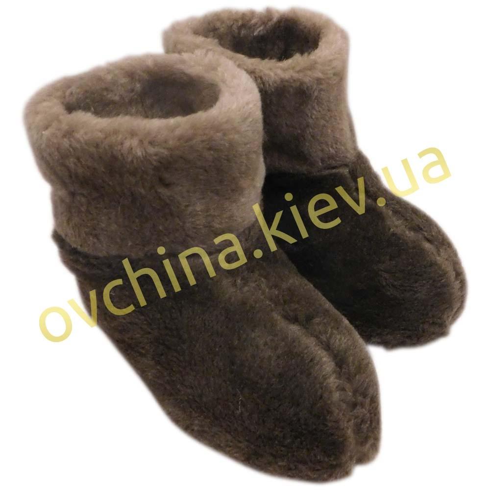 Чуни женские коричневые из шерсти мериносовой овчины /шоколад/