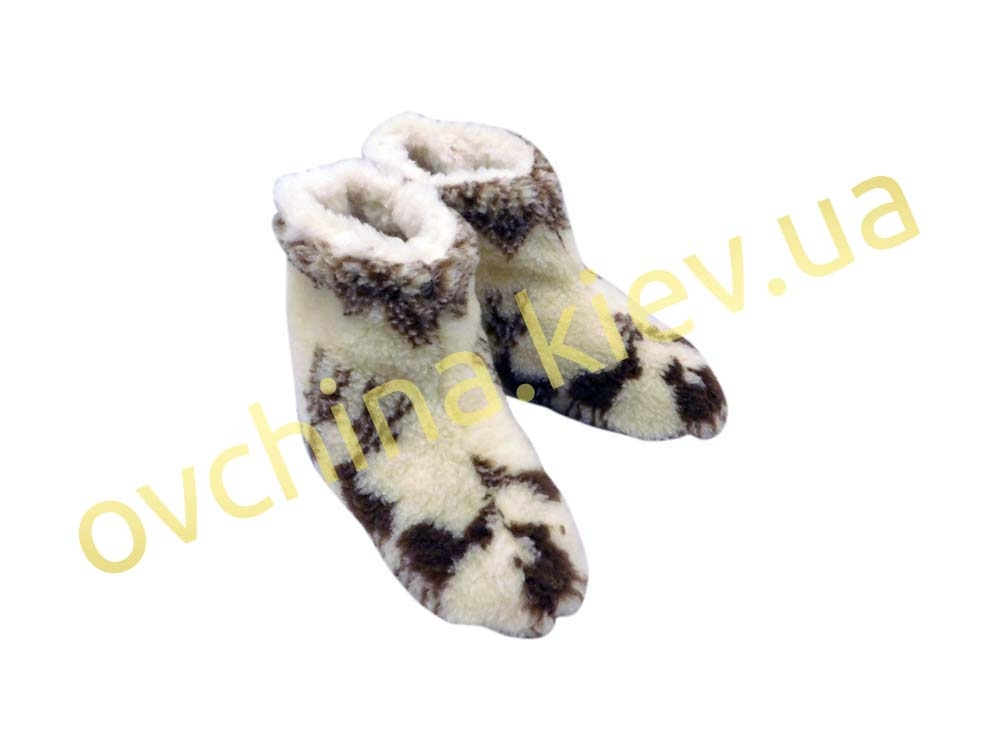Чуни мужские из шерсти мериносовой овчины с узором «Олени» /вариант 2/ - 3