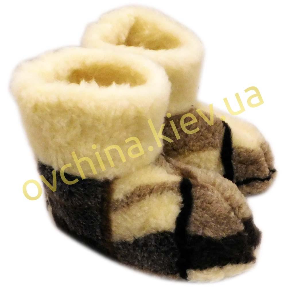 Чуни женские из шерсти мериносовой овчины в крупную клетку - 4
