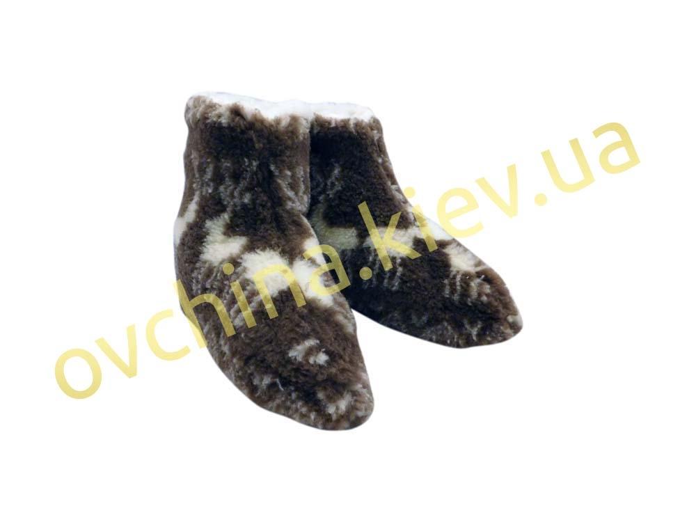 Чуни женские из шерсти мериносовой овчины с узором «Олени» /вариант 1/ - 3