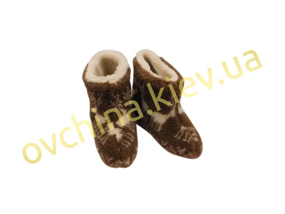 Чуни мужские из шерсти мериносовой овчины с узором «Олени» /вариант 1/ - 2