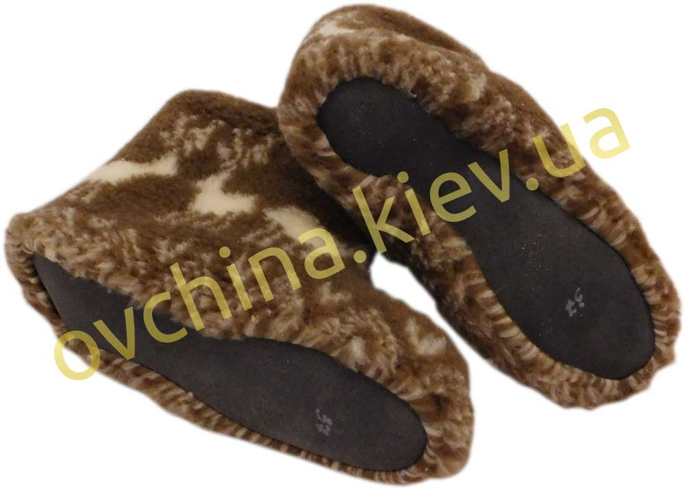 Чуни мужские из шерсти мериносовой овчины с узором «Олени» /вариант 1/ - 3