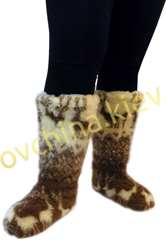 Чуни женские из шерсти мериносовой овчины высокие до колен с узором «Олени скандинавские» - 2