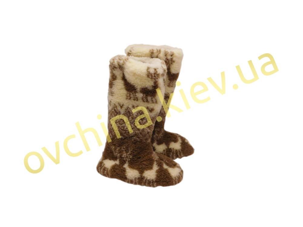 Чуни женские из шерсти мериносовой овчины высокие до колен с узором «Олени скандинавские» - 3