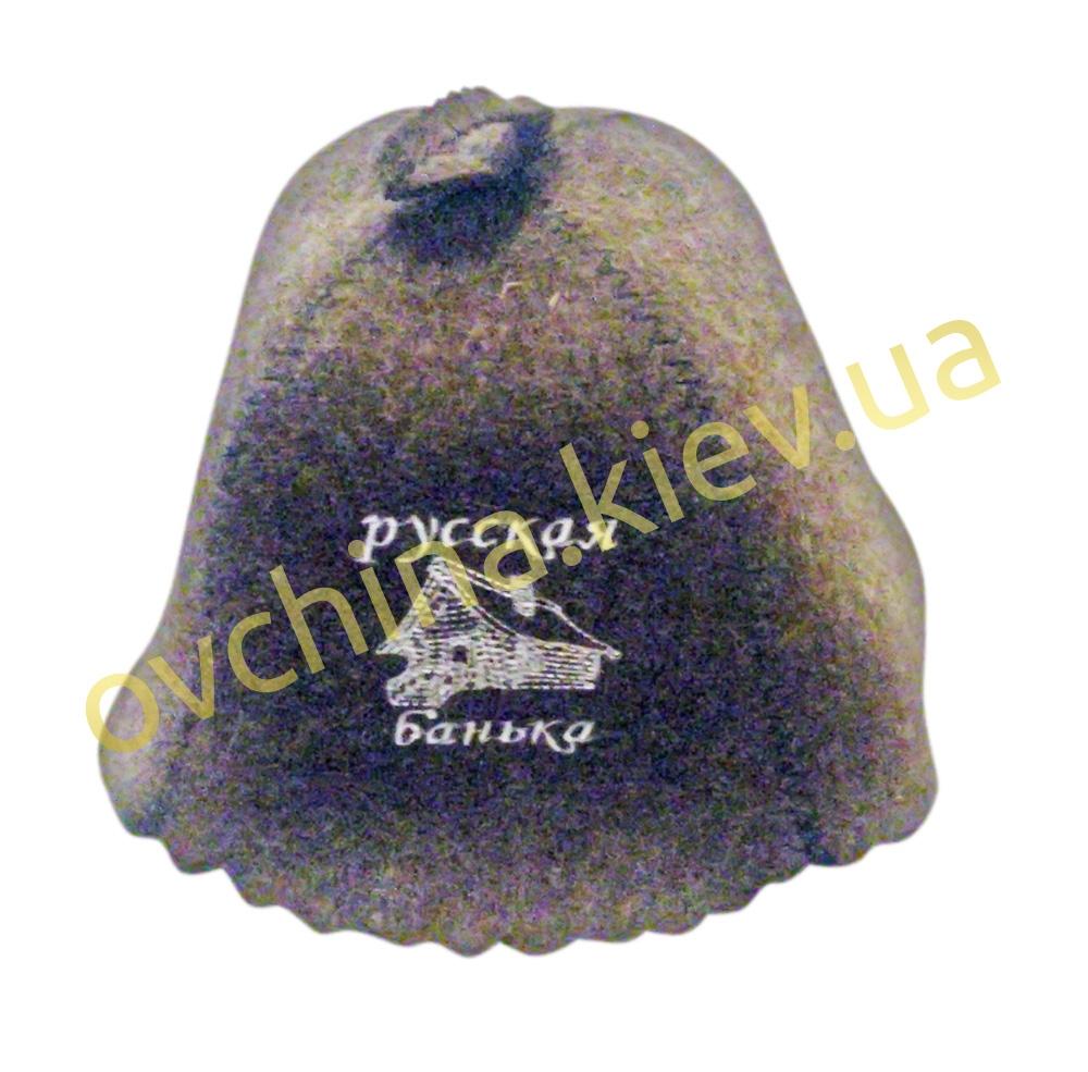 Шапка для бани из войлока с надписью «Русская банька»/серая