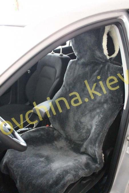 Накидка на сиденье автомобиля из натурального меха овчины (мутона) Серая