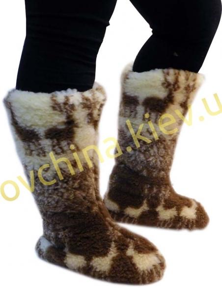 Чуни женские из шерсти мериносовой овчины высокие до колен с узором «Олени скандинавские»