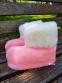 Чуни женские розовые из шерсти мериносовой овчины